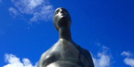 "Photo: ""Motherhood,"" sculpture by Simon Kogan, at Percival Landing, Olympia."