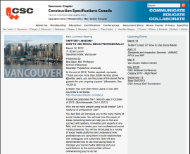 Construction Specifications Canada: Vancouver Chapter
