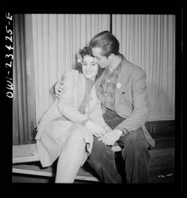 """""""Buffalo, New York. Swingshift workers on the sidelines at the weekly swingshift dance held at the Main-Utica ballroom."""""""